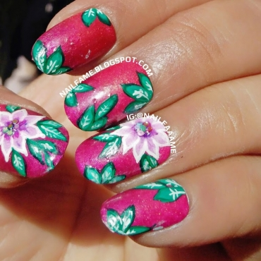 ONE STROKE FLOWER MANI WITH BORN PRETTTY STORE ONE STROKE BRUSH AND NAIL GLITTER REVIEW